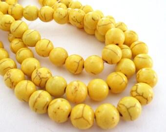 """Yellow Howlite Beads - Yellow Round Smooth Stone Beads - Dark Matrix Stone - Drilled Turquoise - DIY Summer Jewelry - 10mm - 16"""" Strand"""