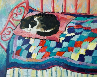Sleeping cat on pink blue quilt CANVAS or PAPER  giclee print Peggy Johnson  everygoodcolor