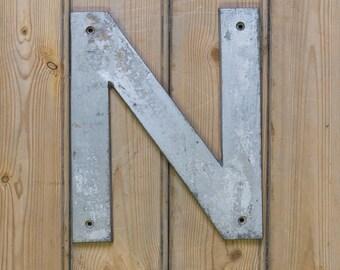 Vintage Letter N, Alphabet, N, Wall Art, Cast Aluminium Letter, Letter N, Names, old letters, old signage, vintage signage