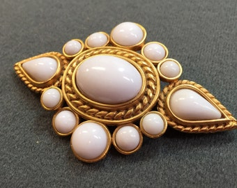 Large Vintage Gold-tone Brooch with White Cabochon Stones-1980's.  Signed TAT.  Fabulous!  Free shipping