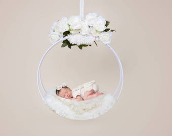 Newborn digital backdrop Floral Swing for newborn composite instant download, unlimited use