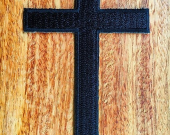 Black Cross Embroidered Iron on Patch New