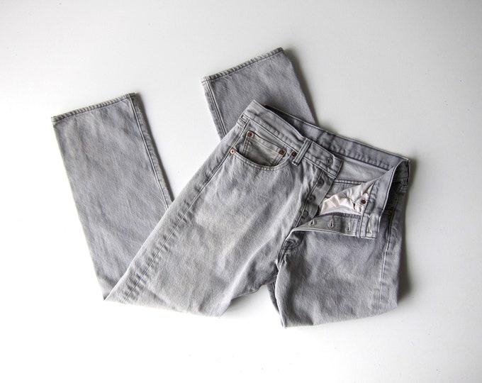 LEVIS 501 Jeans 80s BUTTON FLY Worn In Grey Denim Straight Leg Boyfriend Jeans Vintage Gray Jeans Mechanics 1980s Hipster Mens 30 X 32