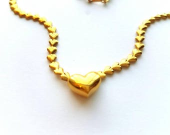 Vintage Avon Gold Hearts Necklace