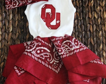 OU Sooners inspired baby dress, Oklahoma girls dress and headband set