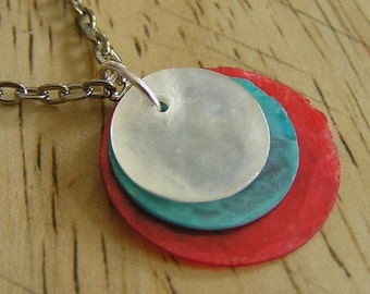 BOGO sale - Capiz Round Pendant and Necklace - Red, White and Blue