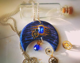 Blue Moon to the Cog - Steampunk artifact, witch necklace, steampunk necklace, Moon necklace, witchcraft, wicca