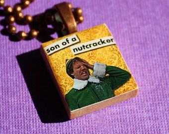 Son Of A Nutcracker Scrabble Tile Necklace - Christmas - Resin Pendant