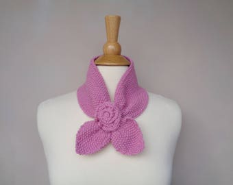 Ascot Scarf with Rose Flower, Pull Through Keyhole Scarf, Bubblegum Pink, Small Neck Scarf, Hand Knit Neck Warmer, Cashmere Blend