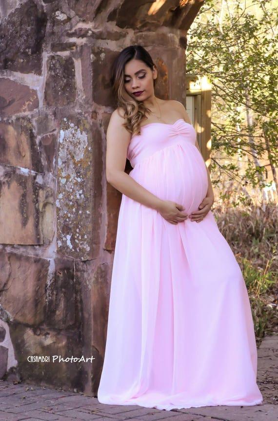 Vanessa pink maternity dress Maternity gown Chiffon
