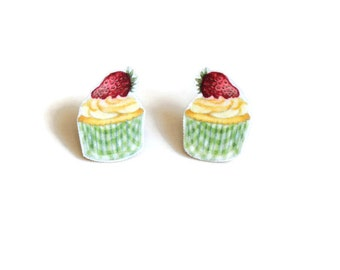 Strawberry Cupcake Earrings, Cream Cup Cake Stud Earrings, Cooks Jewellery
