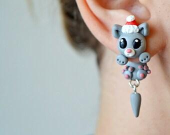 cat earrings,clinging earrings.cat ear jacket,holiday jewelry,animal christmas earrings,holiday earrings,christmas jewelry,dangling earring