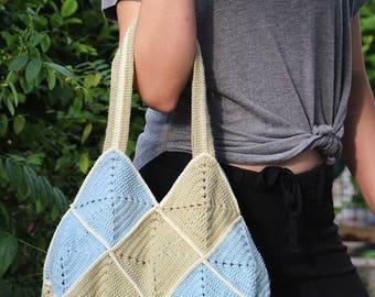 Crochet granny squares bag, Two tone crochet bag, Crochet handbag, Sweet granny squares bag, Crochet purse