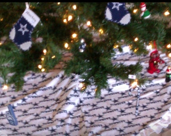 Dallas cowboy themed christmas tree skirt