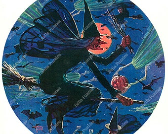 Hand-cut wooden jigsaw puzzle. WITCHES NIGHT OUT. Eugene Iverd. Vintage illustration. Wood, collectible. Bella Puzzles.