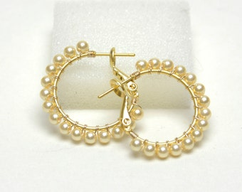 "Pearl Hoop Earrings (20mm, Beaded 1"") - Wire Wrapped Hoops with Posts & Leverbacks - Light Gold Swarovski Crystal Pearls, Gold Plated Hoops"