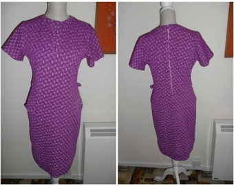 Mod Style Scooter Cute Vintage Retro Well Loved 1960s Purple Crimplene Dress In Need of TLC! UK Size 12 14 Project?!