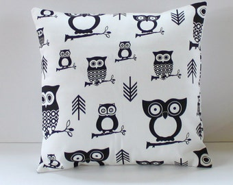 Modern Owls Black and White Pillow Cover- Black and White- Woodland-Decorative Couch Pillow 14x14- Ready to Ship