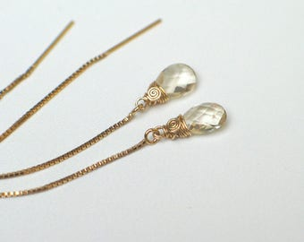 Champagne Oregon Sunstone Threader Earrings | Pear Briolettes | 14k Gold Filled Box Chain Ear Threads | Petite Drop Dangles | Ready to Ship