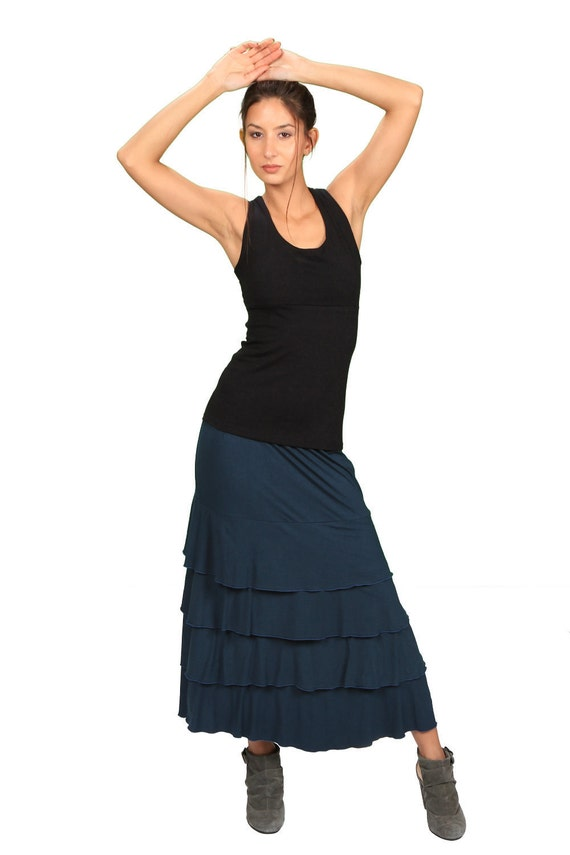 Spring Sale! Lydia Maxi Skirt with Ruffles in Dark Teal