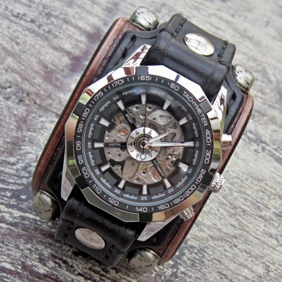 jewellery biker watch jewelry gothic leather watches bikers mens steampunk skull