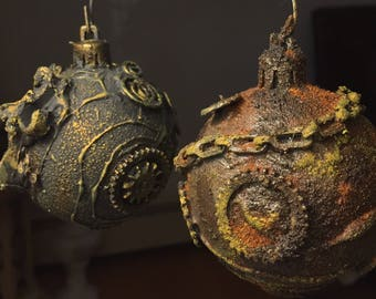 Steampunk Inspired Christmas Ornaments Set of 2