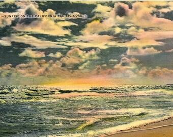 California Pacific Coast Sunrise Vintage Postcard (unused)