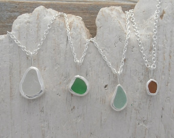 Custom genuine sea glass necklace - Pretty colors