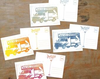 We've Moved, postcard set
