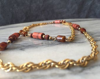 Bohemian Chain and Bead Necklace / Gold Tone Chain Beaded Necklace / Multi-Strand Necklace / Layered Necklace / Vintage Necklace