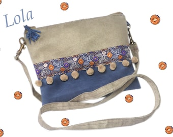 Bohemian clutch, boho chic clutch, clutch bag, shoulder bag clutch, pouch, original, Denim Blue, gray taupe, women gift