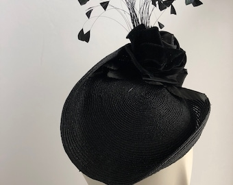 Black Turned Up Platter Fascinator with Velvet Rose and Coque Feathers