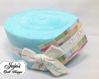 Bella Solids Jelly Roll Egg Blue by Moda Fabrics SKU 9900JR 85