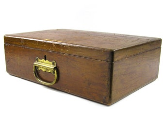 Vintage 1800s Wood Box Artist Box Rustic Jewelry Box Wood Storage Box Writing Box Art Supply Box