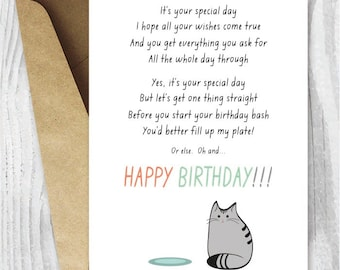 Birthday Card from the Cat Printable, Funny Happy Birthday Printable Card, Cat Poem Digital Card, Grey Cat Illustration, Instant Download