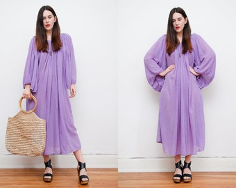 Vintage Indian Cotton Boho Dress Hippie Dress Ethnic Smock Gauze Cotton Dress 70's