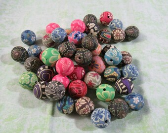 50 Asst. Polymer Clay Round Beads 14-16mm (B310g)