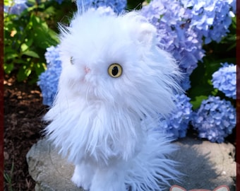 White Cat plushie Long hair stuffed animal OOAK faux mongolain lamb longhair yellow custom eyes