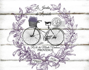 French Vintage Lavender Wreath Bicycle Large Instant Digital Download Art Printable Shabby Chic Graphic Transfer Canvas Burlap Linen