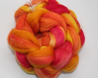 "Baby ALPACA/Merino Hand Painted SPINNING FIBER/Roving - 4 oz,  Orange/ Red Roving, Handpainted With Acid Dyes - ""Good Day Sunshine"""