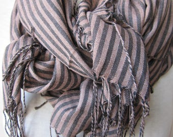 Beige black -stripe MEN Scarf- stripe scarf, viscose fabric Turkey Turkish Scarf gifts for her, gifts for him, christmas gift
