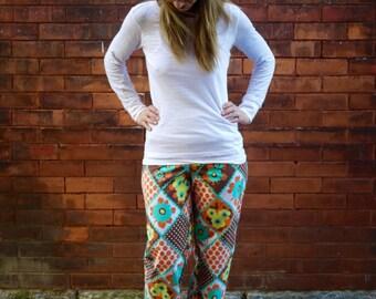 Women's Vintage Cotton Wide Leg Floral Pajama Pants|Low Rise Pants|Plus Size Pants|Loose Fit Pants|Elastic Waist|Casual Pants|Printed Pants|