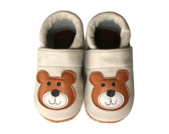 Leather Baby Booties, Bear, Baby Shoes, Infant Newborn Nursery Children Brown Beige White