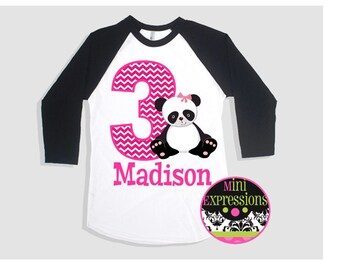 Girl Panda Raglan Birthday shirt Personalized Just For You Any Age Any Name
