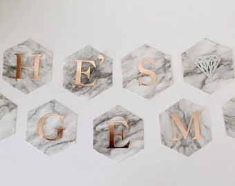Marble Wedding Decor Banner Sign Rose Gold Foil Letters In Hexagon Shape  For Birthday, Baby