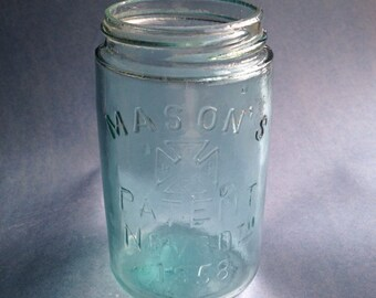 Mason's maltese cross aqua glass canning jar by Hero fruit jar co. philadelphia pre-1905 with ground lip!