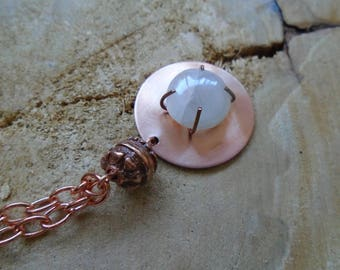 Moonstone copper necklace / / Bohemian / / nature jewelry