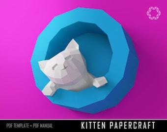PAPERCRAFT KITTEN Papercraft DIY - Cat Paper Kitten Kit 3D paper Craft Animals Kitten Low Poly Cat paper model Paper Craft paper sculpture