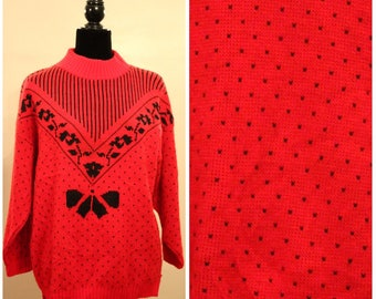 ugly sweater party ugly christmas sweater statement sweater abstract sweater 80s red pullover vintage red sweater oversized women's medium