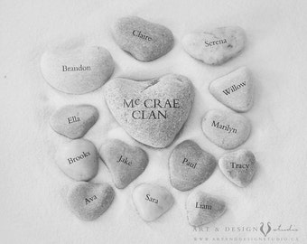 Grandparent Anniversary Gift, Heart Photography, Heart Stone Rock Art, Family Tree Alternative, Family Tree Print, Personalized Photo Print